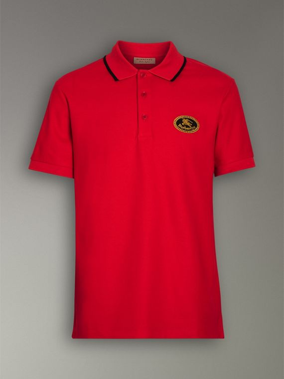Archive Logo Cotton Piqué Polo Shirt in Military Red - Men | Burberry - cell image 3