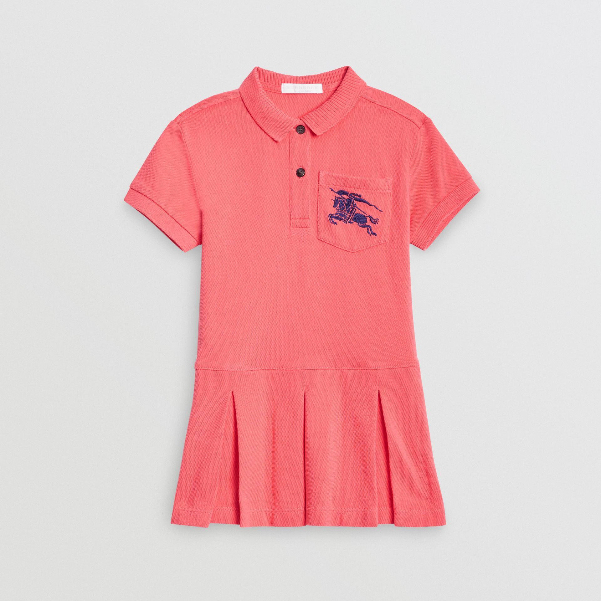 EKD Logo Cotton Polo Dress in Bright Pink | Burberry Singapore - gallery image 0