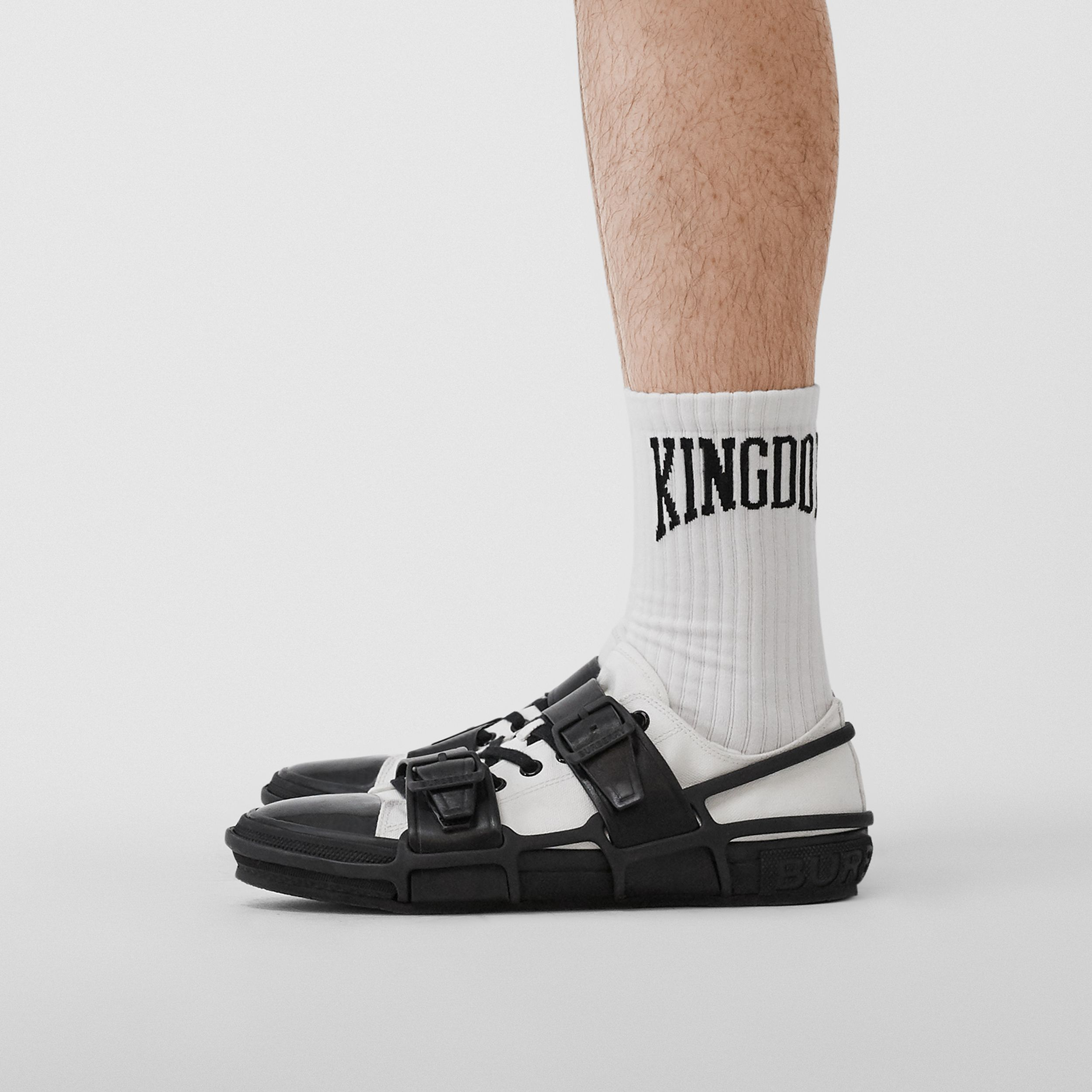 Kingdom Intarsia Cotton Blend Socks in White | Burberry Singapore - 4