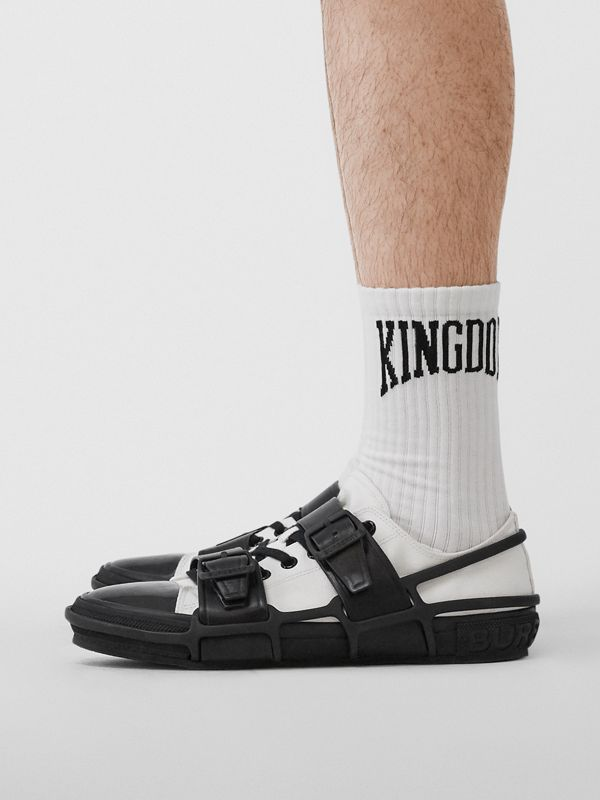 Kingdom Intarsia Cotton Blend Socks in White | Burberry - cell image 3
