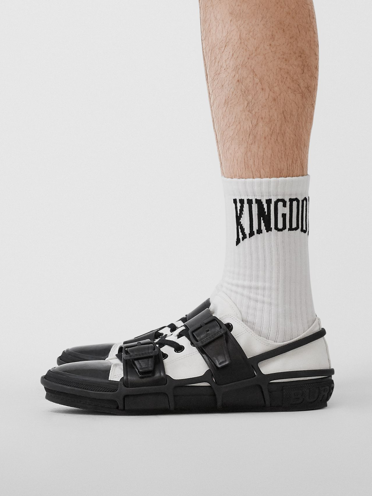 Kingdom Intarsia Cotton Blend Socks in White