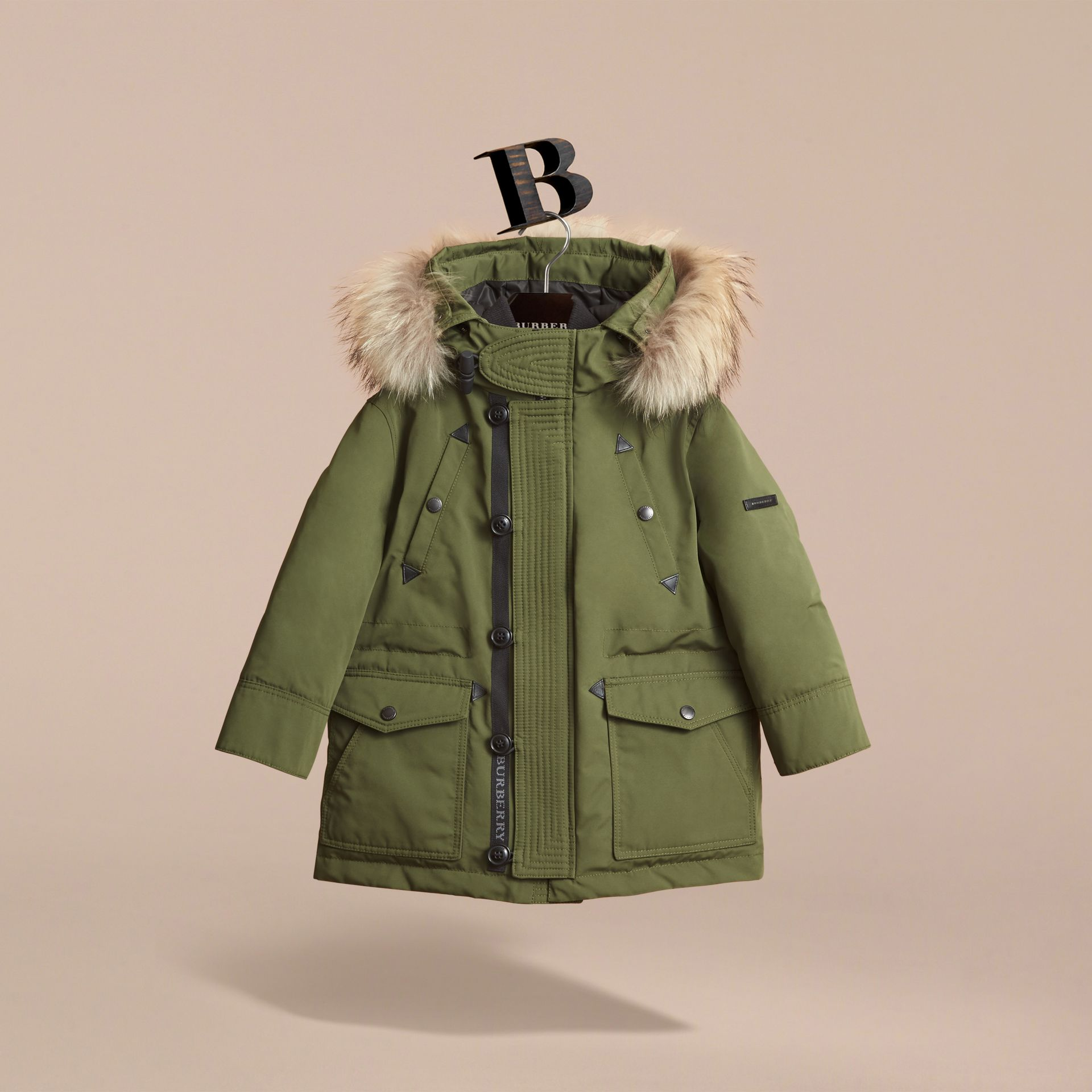 Fur-trimmed Down-filled Hooded Puffer Coat in Sage - Boy | Burberry - gallery image 2