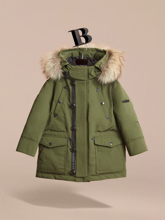 Fur-trimmed Down-filled Hooded Puffer Coat in Sage - Boy | Burberry Hong Kong - cell image 2