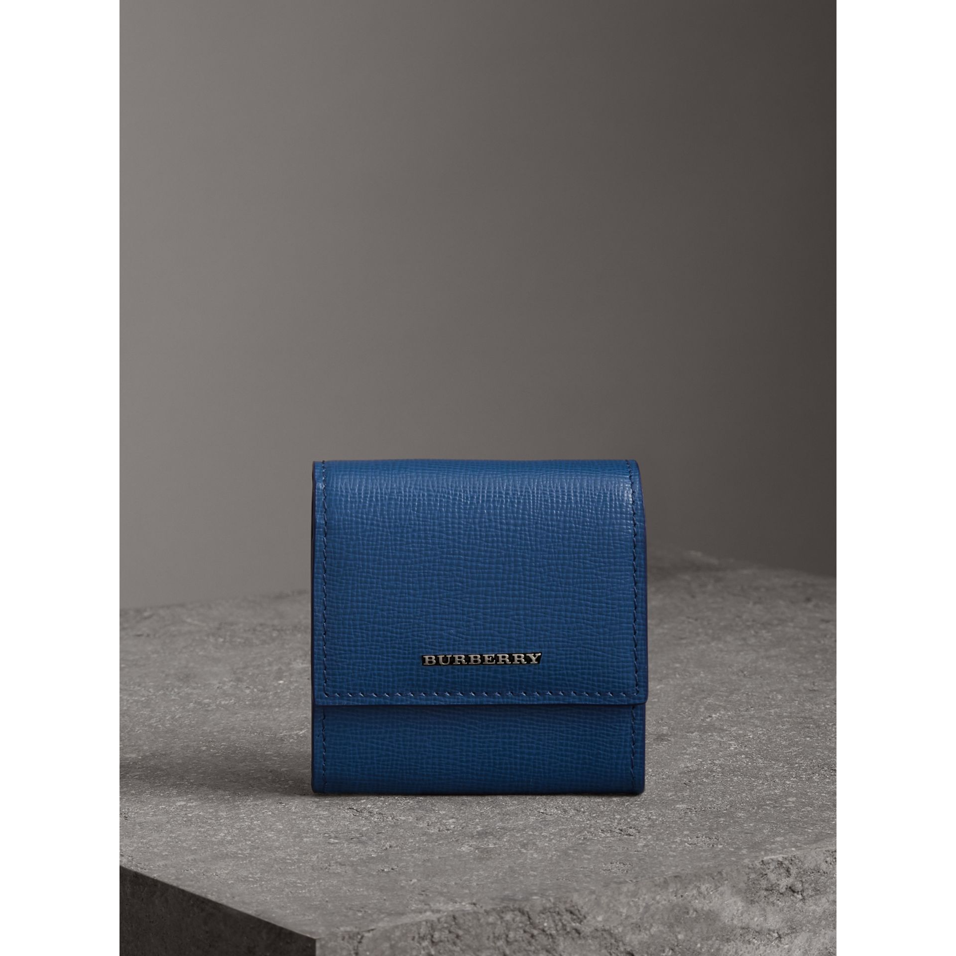 London Leather Coin Case in Deep Blue - Men | Burberry - gallery image 4