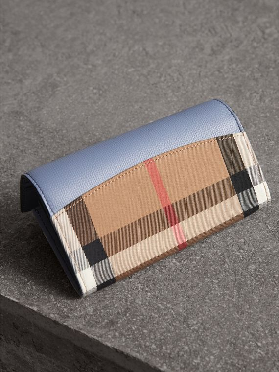 House Check And Leather Continental Wallet in Slate Blue - Women | Burberry Singapore - cell image 2