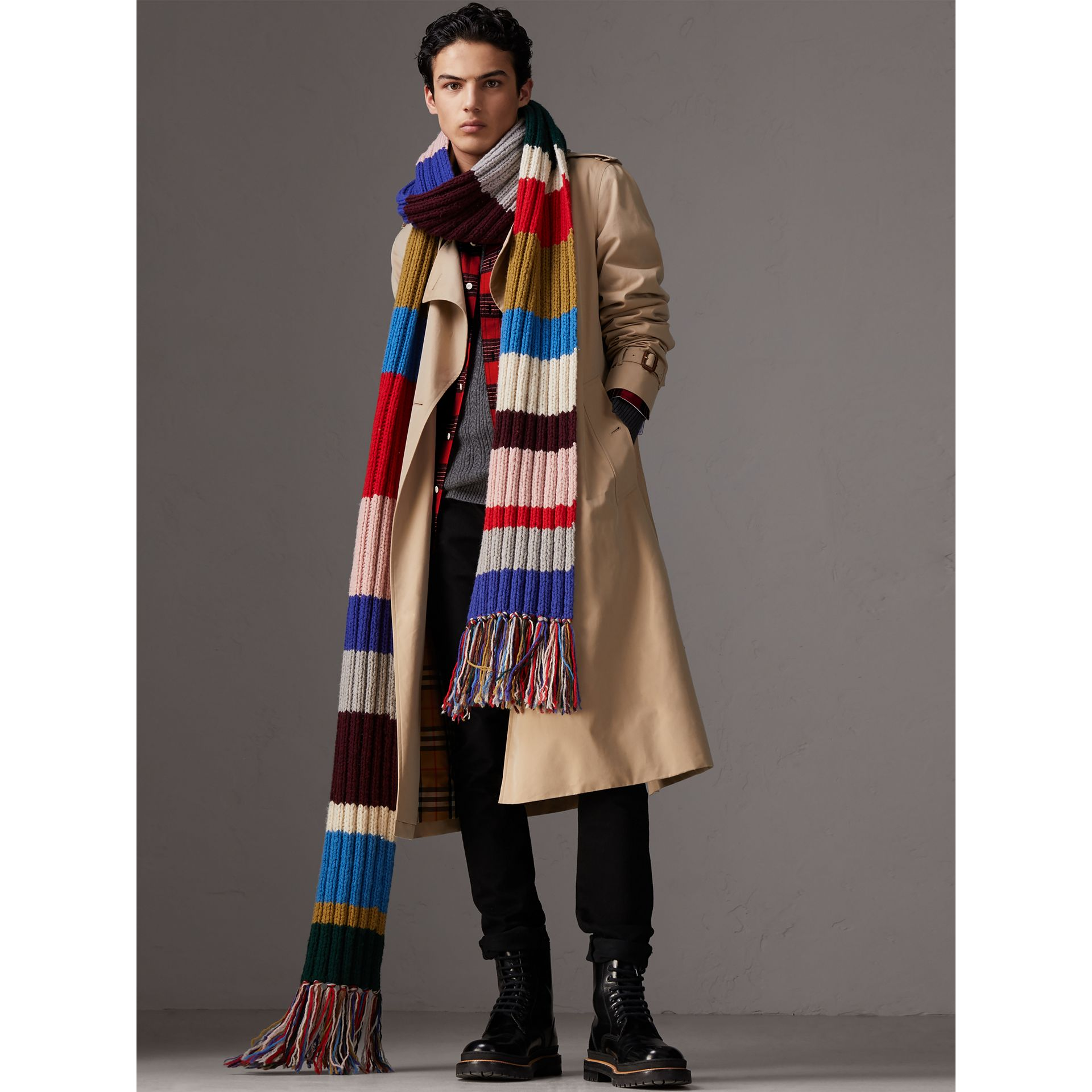 Long Striped Rib Knit Wool Scarf in Multicolour | Burberry Canada - gallery image 3