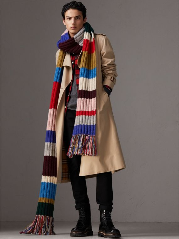 Long Striped Rib Knit Wool Scarf in Multicolour | Burberry Canada - cell image 3