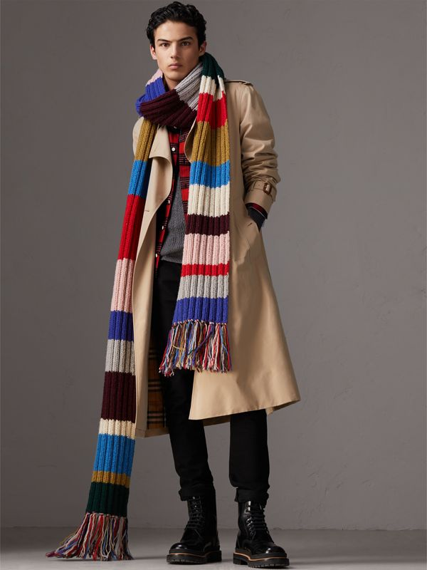 Long Striped Rib Knit Wool Scarf in Multicolour | Burberry - cell image 3