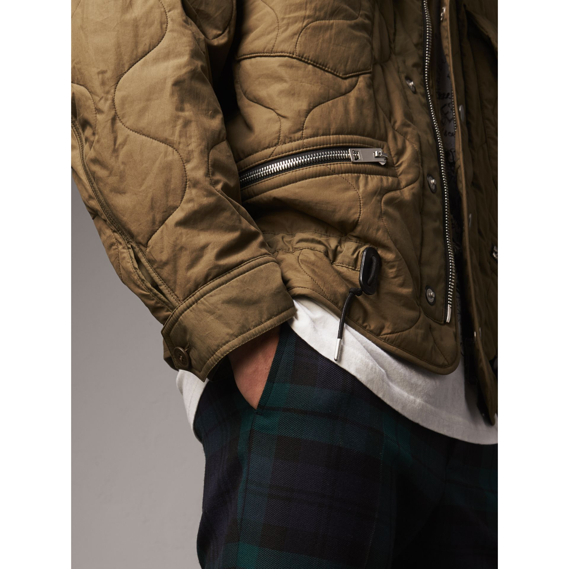 Detachable Hood Quilted Cotton Bomber Jacket in Olive Green - Men | Burberry - gallery image 4