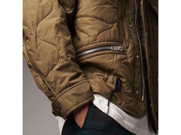 Detachable Hood Quilted Cotton Bomber Jacket in Olive Green - Men | Burberry - cell image 4