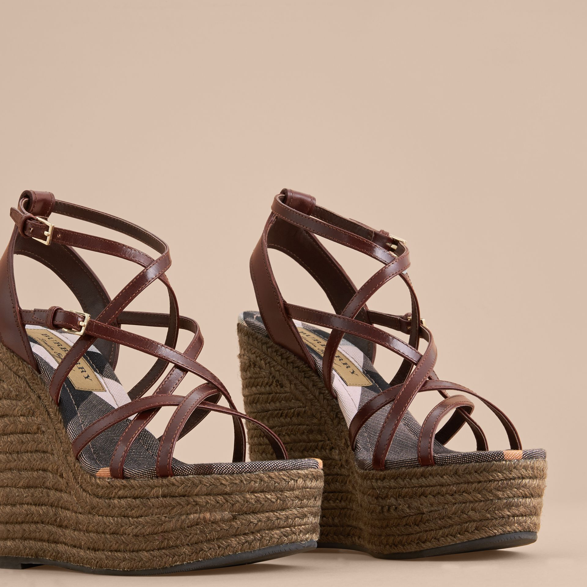 Leather Platform Espadrille Wedge Sandals in Cerise Purple - Women | Burberry - gallery image 4