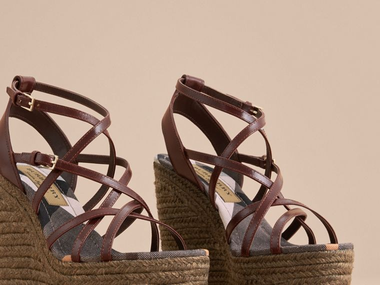 Leather Platform Espadrille Wedge Sandals in Cerise Purple - Women | Burberry - cell image 4