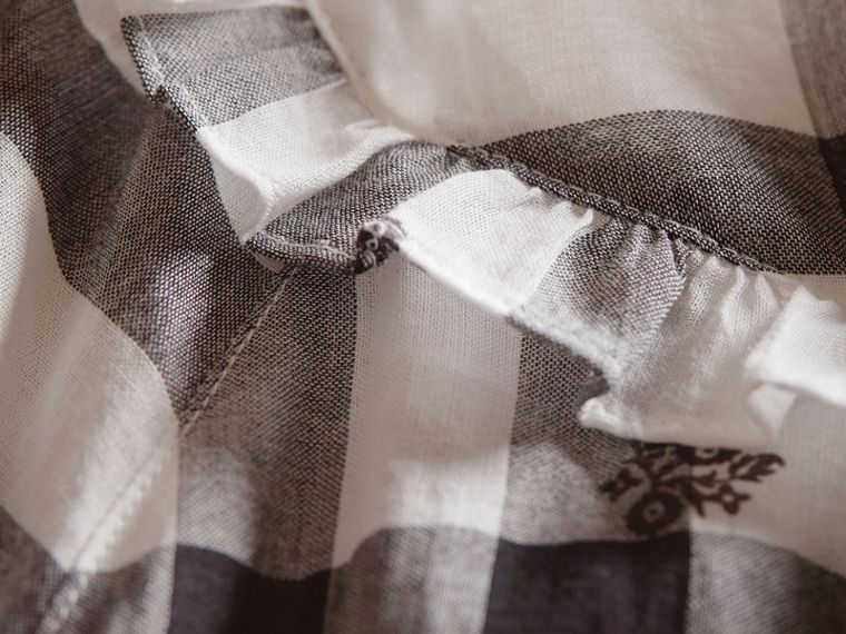 Ruffle Detail Floral Print Check Cotton Dress in White - Women | Burberry Singapore - cell image 1