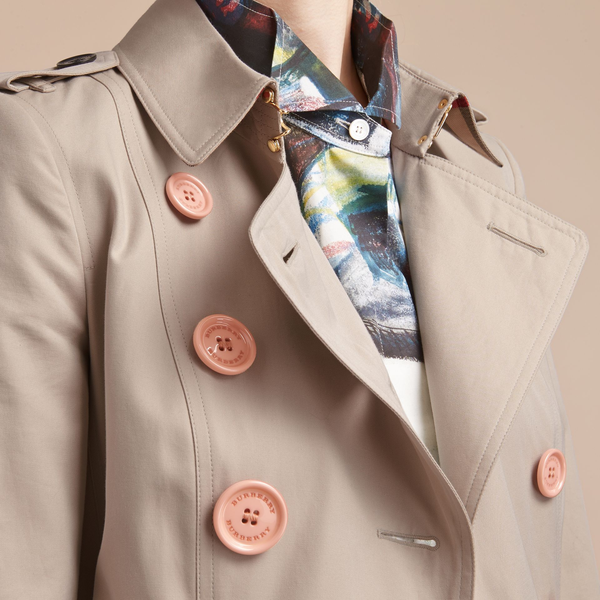 Resin Button Cotton Gabardine Trench Coat - gallery image 5