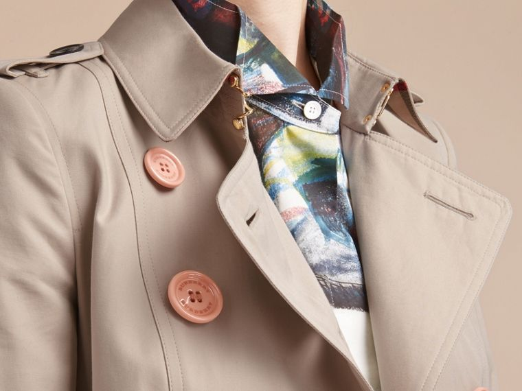 Resin Button Cotton Gabardine Trench Coat - cell image 4