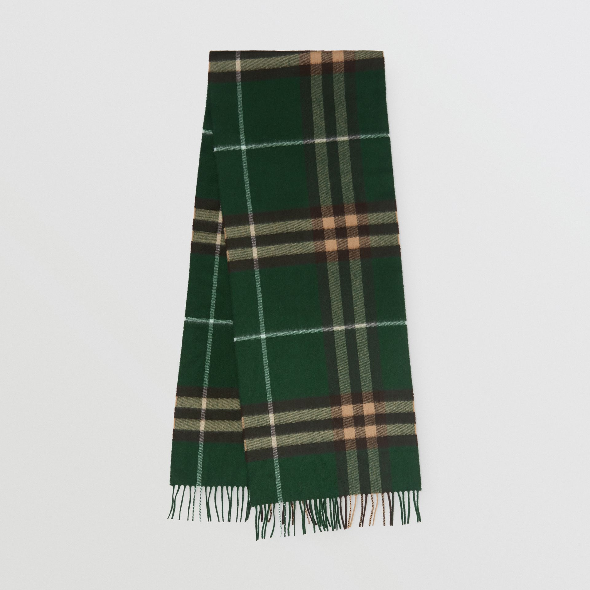The Classic Check Cashmere Scarf in Dark Pine Green | Burberry United Kingdom - gallery image 0