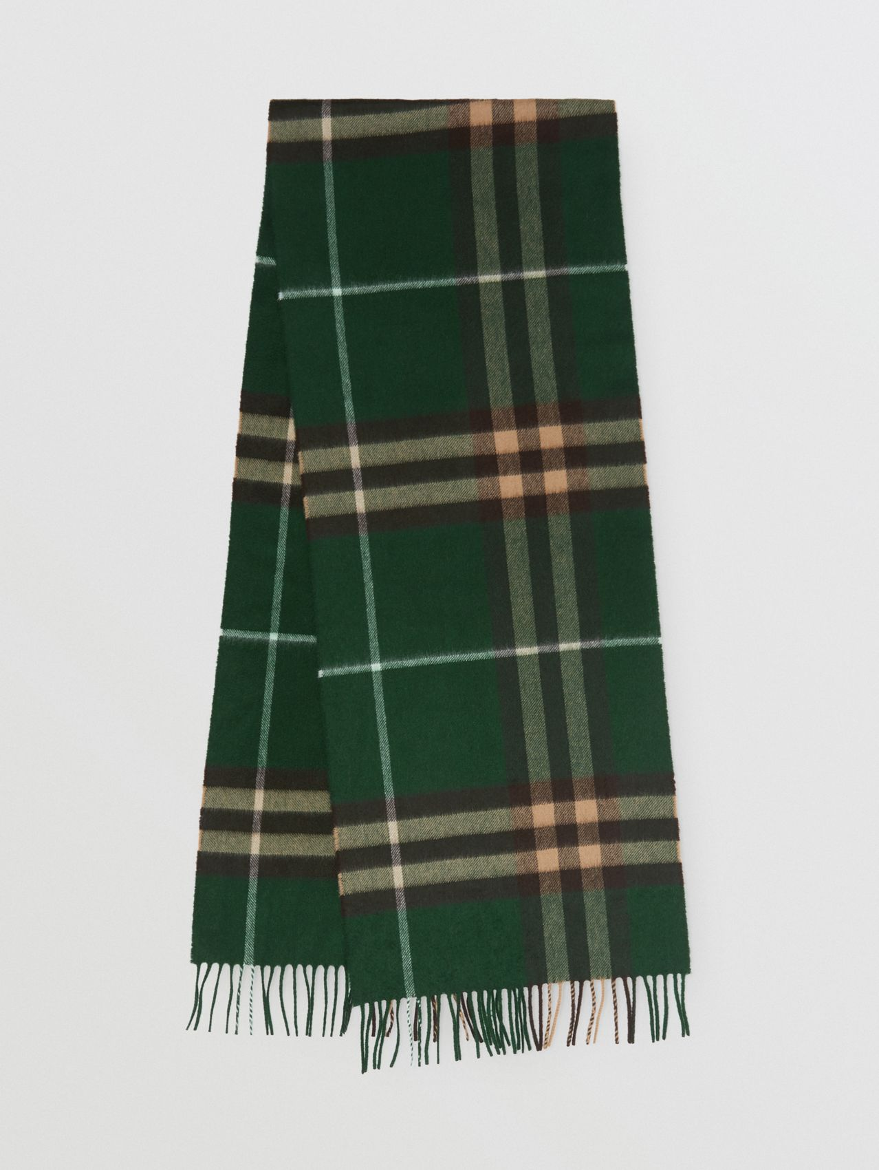 The Classic Check Cashmere Scarf in Dark Pine Green