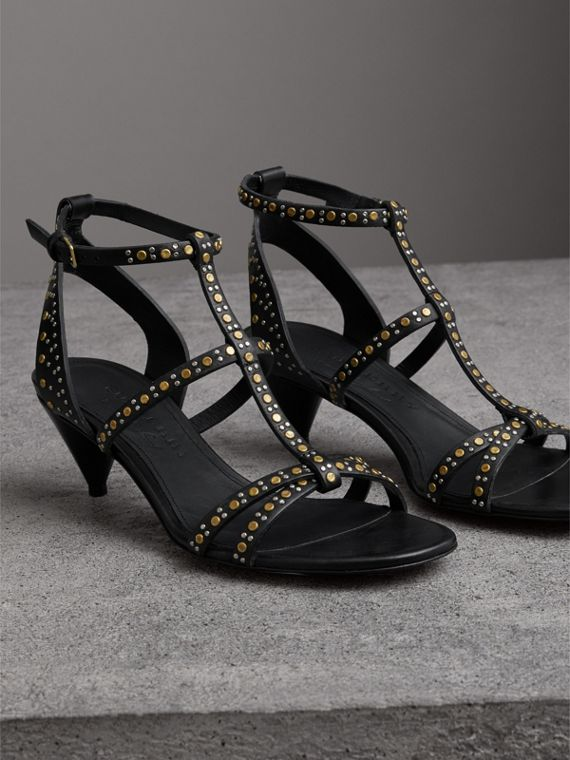 Riveted Leather Cone-heel Sandals in Black - Women | Burberry Singapore - cell image 3