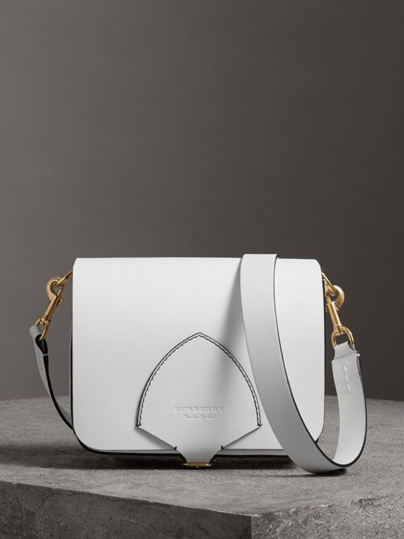 The Large Square Satchel in Leather in Chalk White