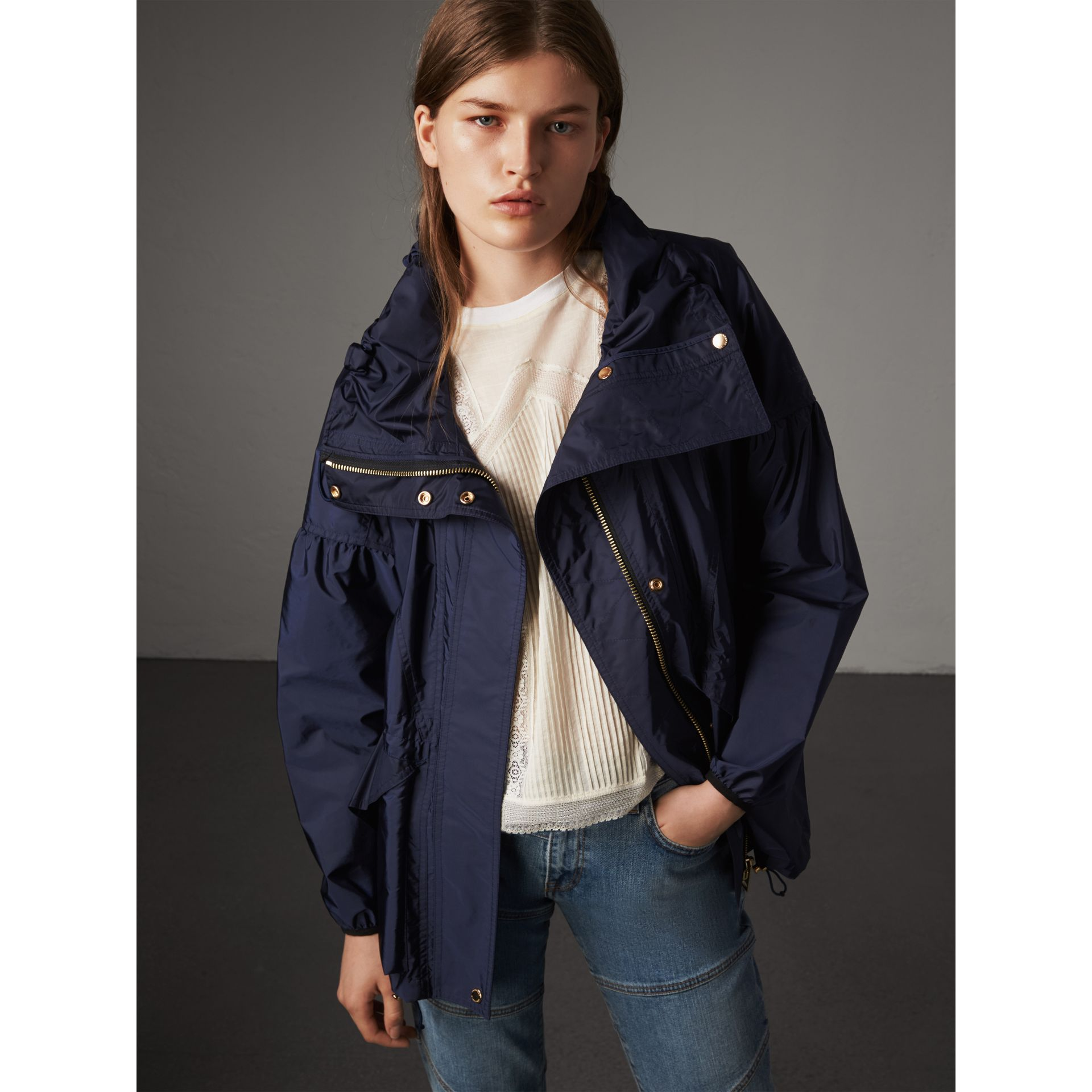 Packaway Hood Lightweight Rain Jacket in Bright Navy - Women | Burberry - gallery image 1