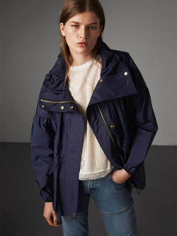 Packaway Hood Lightweight Rain Jacket in Bright Navy - Women | Burberry Canada