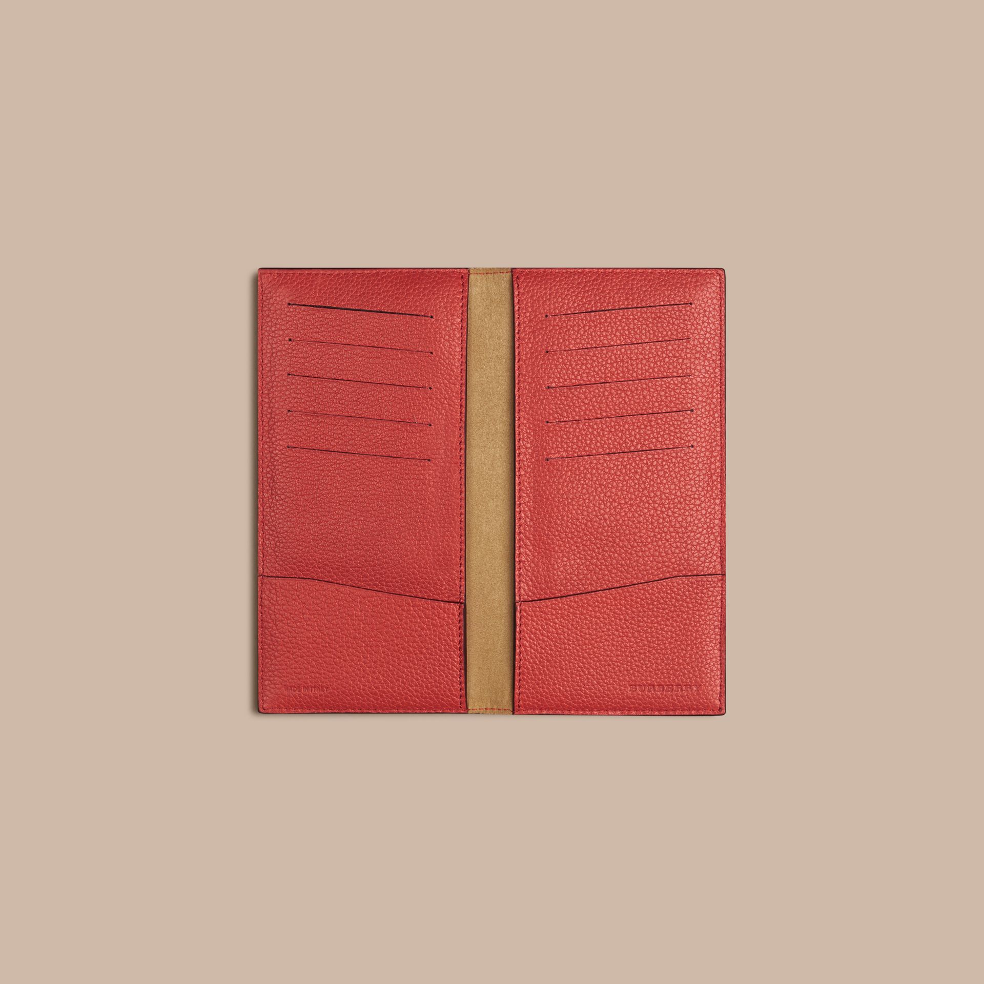 Grainy Leather Travel Card Case Orange Red - gallery image 2