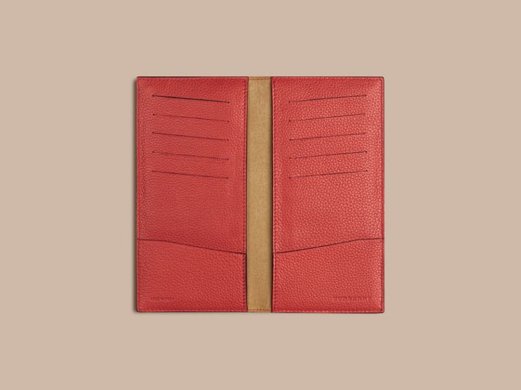 Grainy Leather Travel Card Case in Orange Red | Burberry - cell image 1