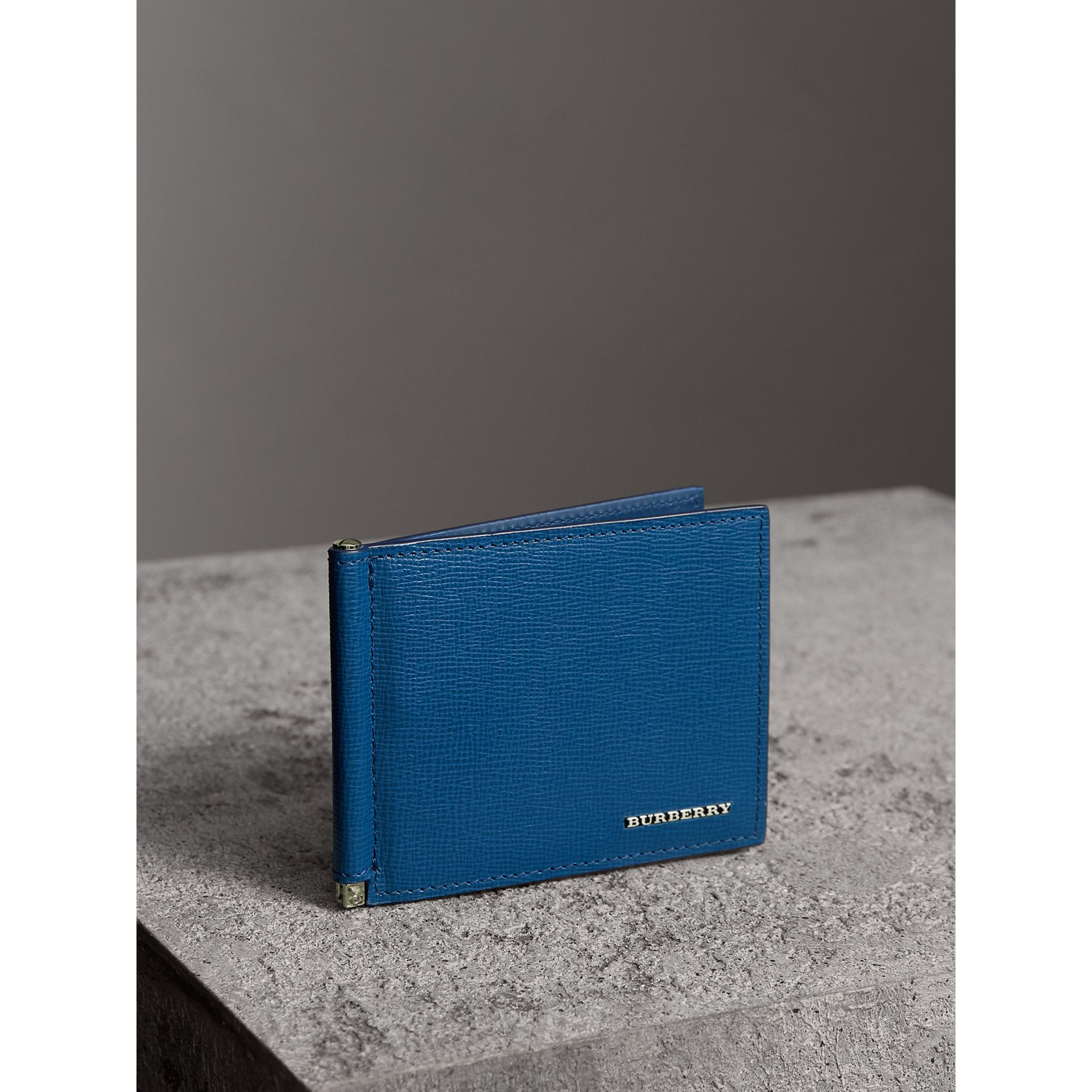 London Leather Money Clip Card Wallet in Deep Blue - Men | Burberry - gallery image 1