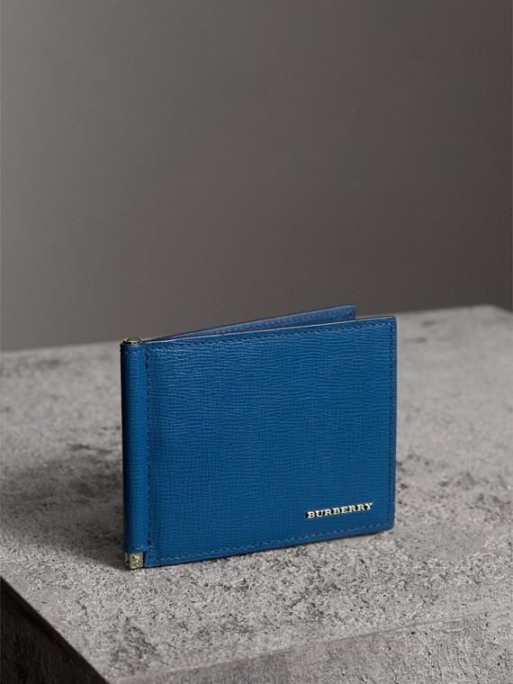 Portefeuille à cartes en cuir London avec pince à billets (Bleu Profond)