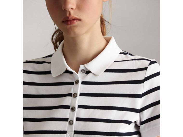 Striped Stretch Cotton Piqué Polo Shirt in White/navy - Women | Burberry - cell image 1