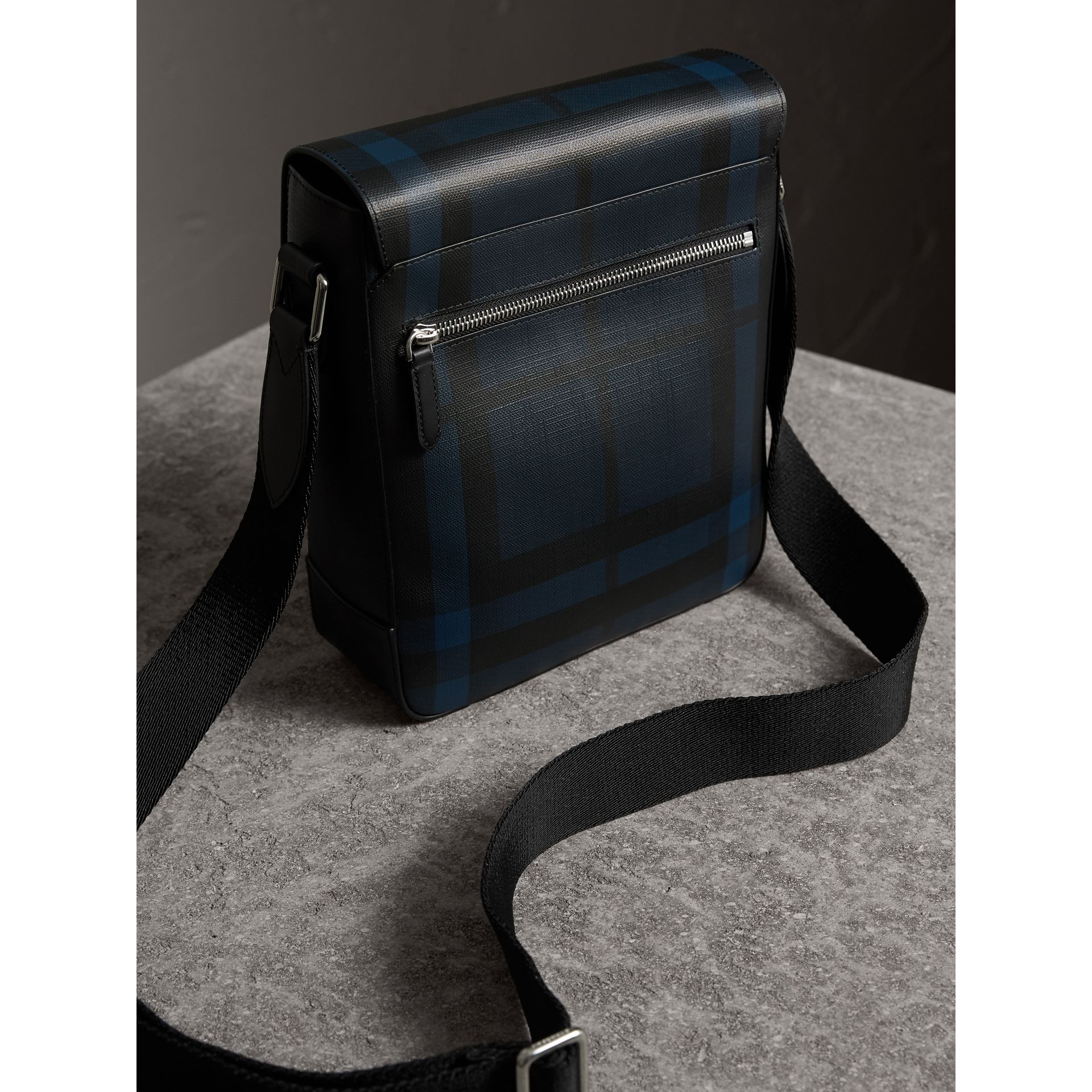 London Check Crossbody Bag in Navy/black - Men | Burberry United States - gallery image 3
