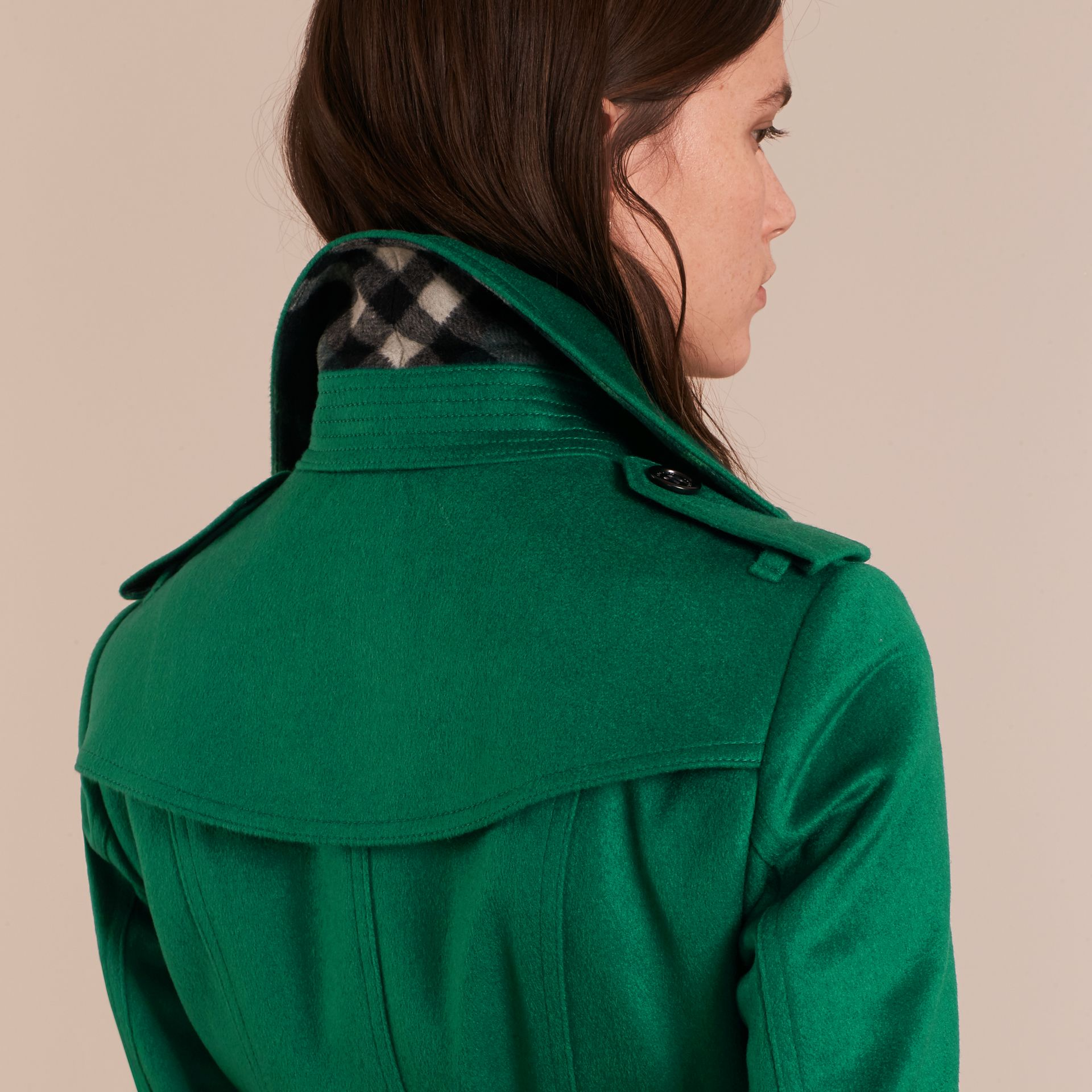 Sandringham Fit Cashmere Trench Coat Kelly Green - gallery image 6