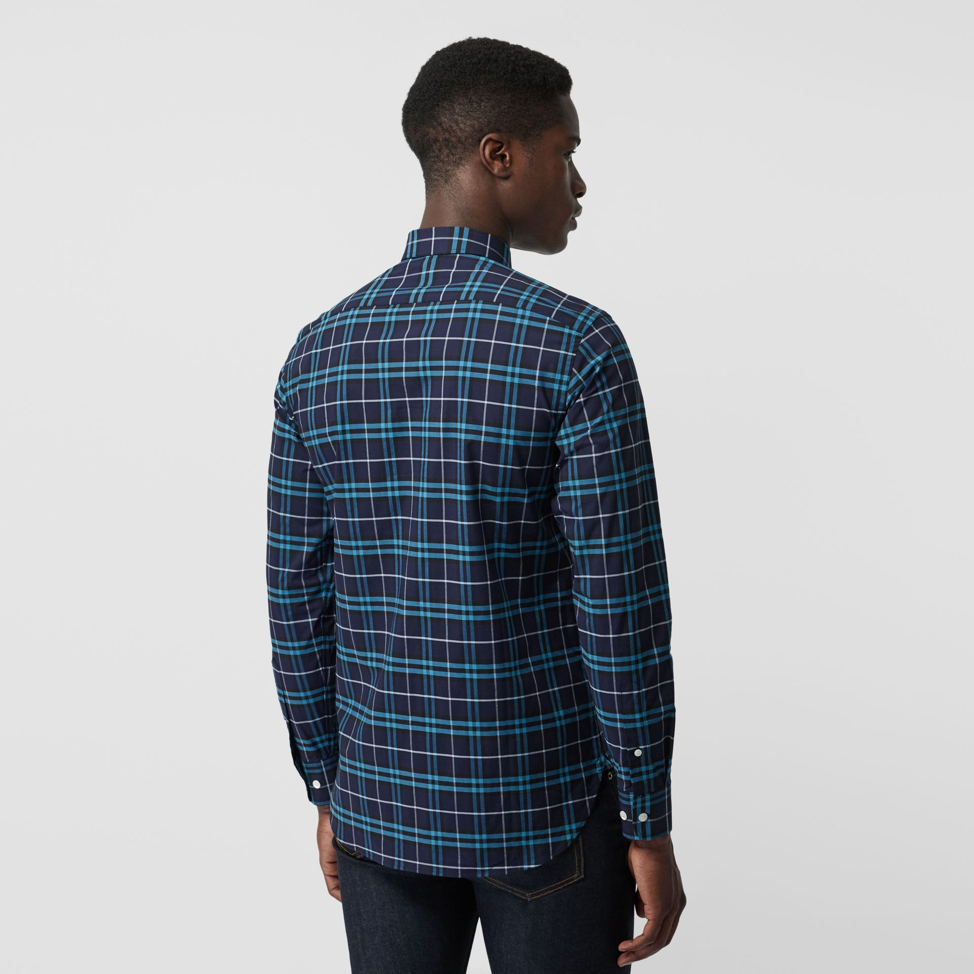 Check Stretch Cotton Shirt in Bright Navy - Men | Burberry Canada - gallery image 2