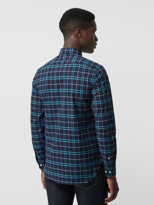 Check Stretch Cotton Shirt in Bright Navy - Men | Burberry United Kingdom - cell image 2