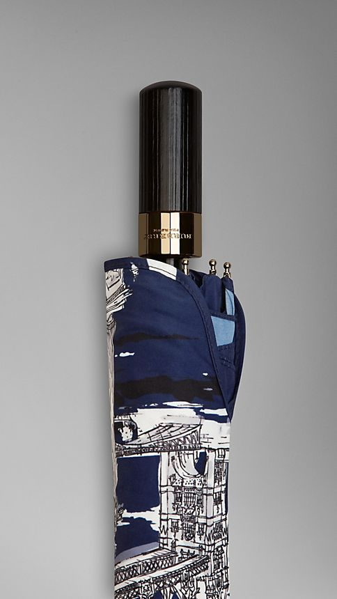 Brilliant navy London Landmarks Folding Umbrella - Image 4