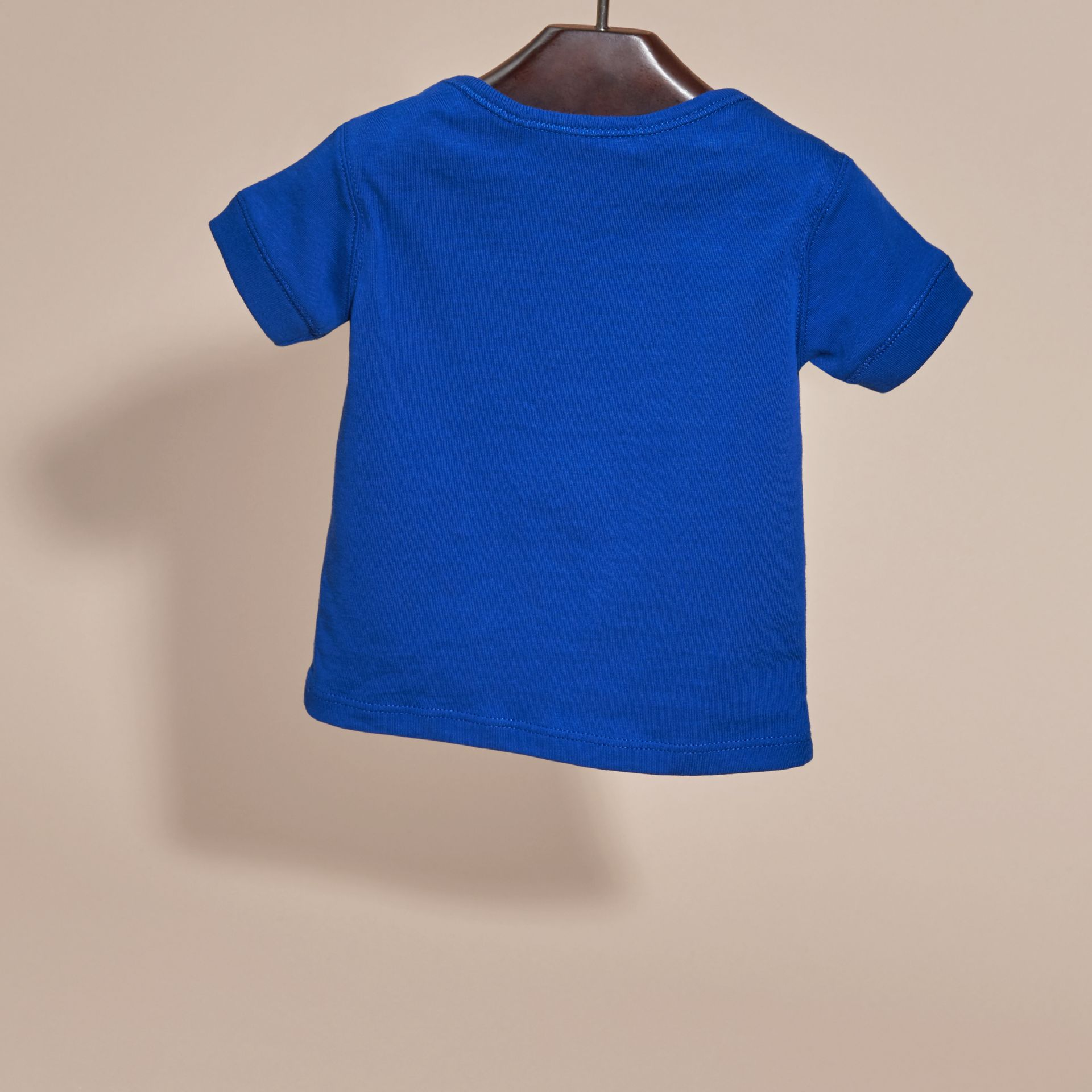 Check Pocket T-Shirt in Brilliant Blue | Burberry - gallery image 4