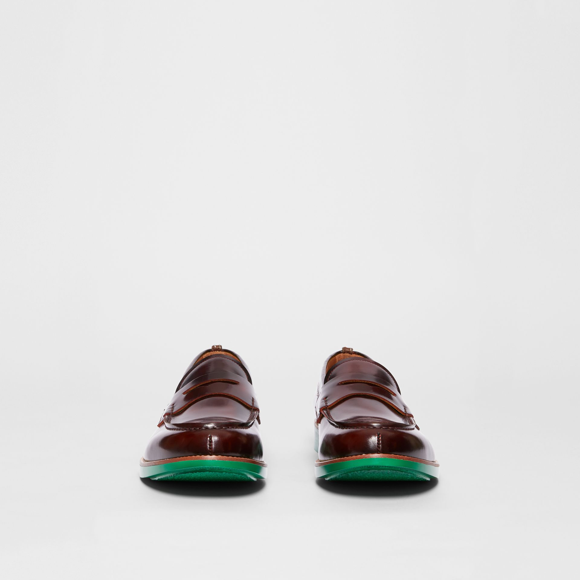 D-ring Detail Contrast Sole Leather Loafers in Bordeaux/green - Men | Burberry - gallery image 3
