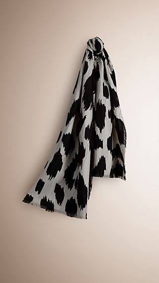 Animal Print Fil Coupé Cashmere Wool Silk Scarf