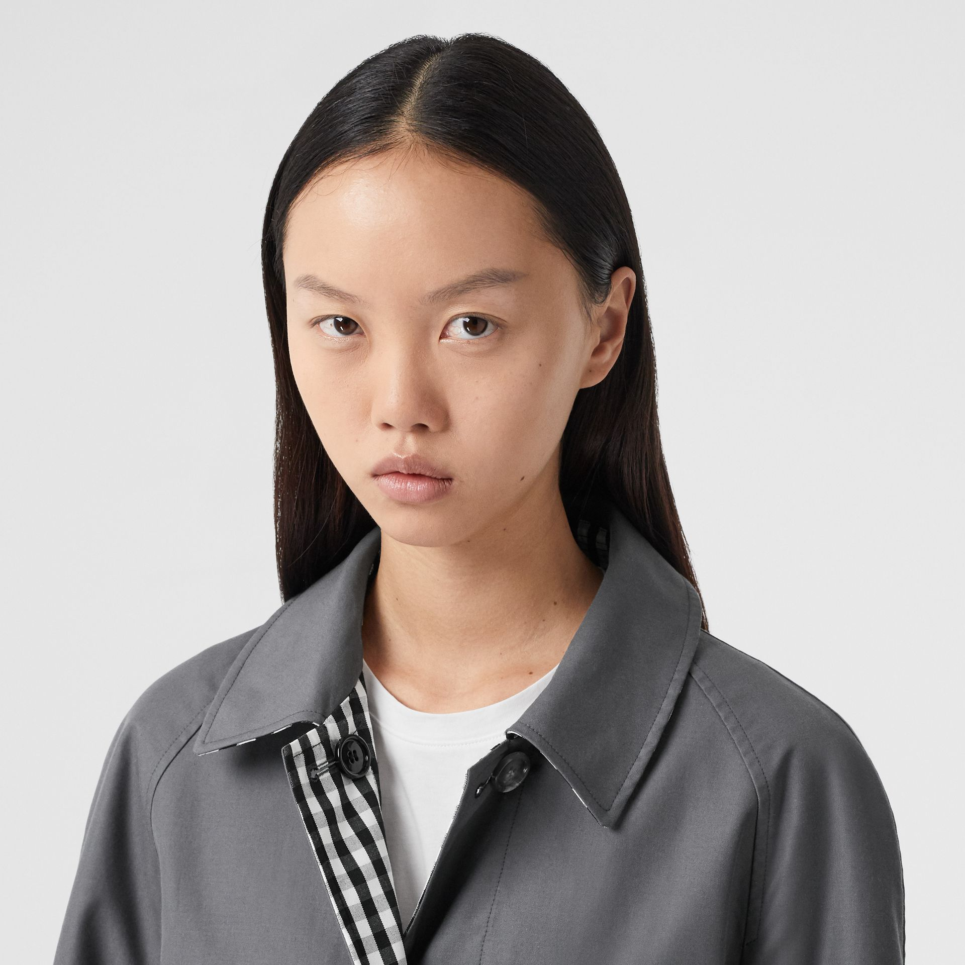 Reversible Cotton Gabardine Car Coat in Mid Grey - Women | Burberry United Kingdom - gallery image 1