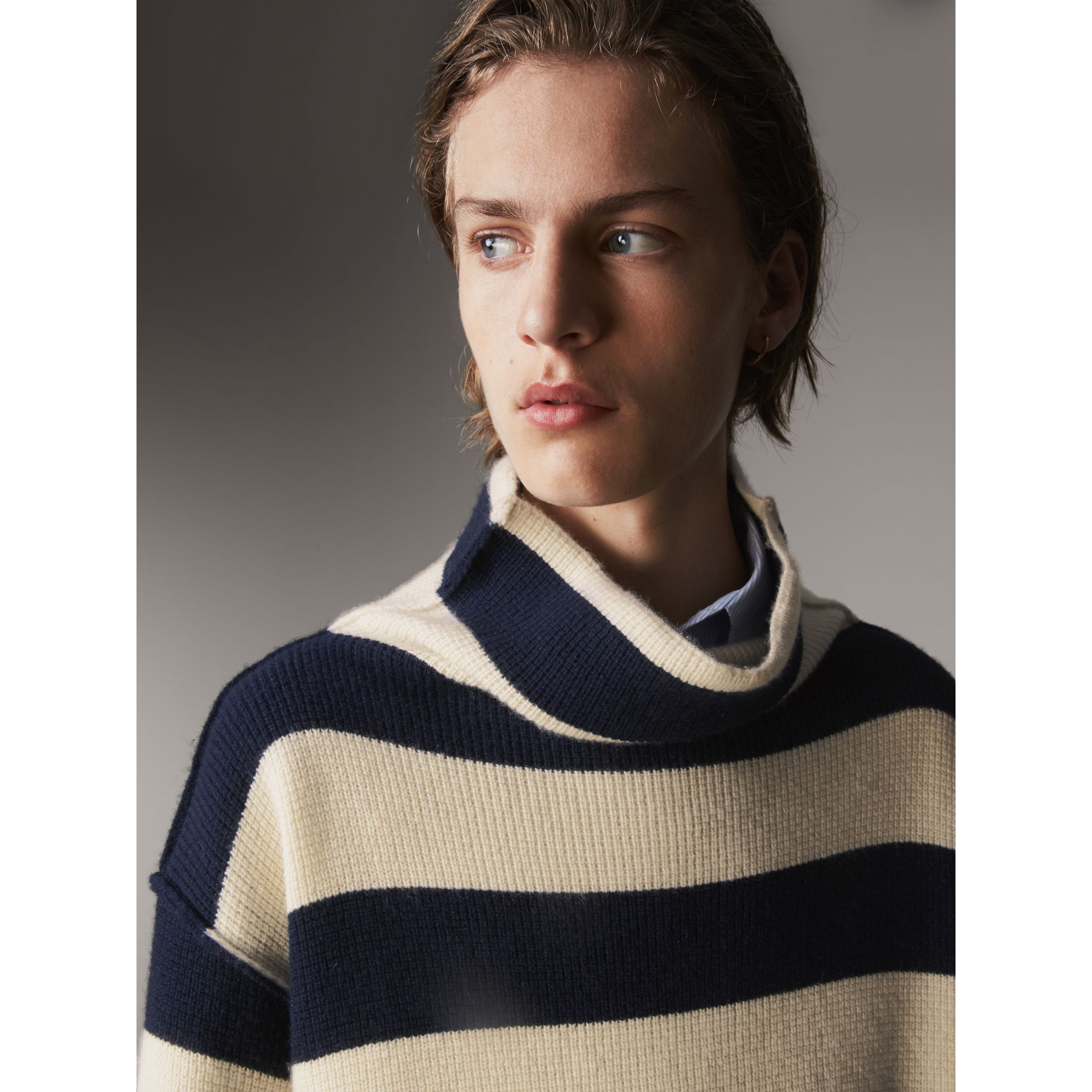 Striped Knitted Cashmere Roll-neck Sweater - Men | Burberry Australia - gallery image 2