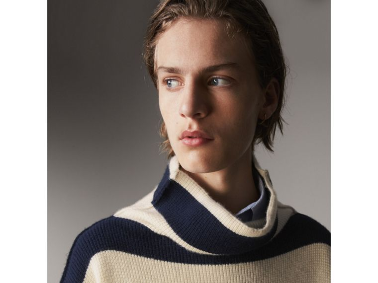 Striped Knitted Cashmere Roll-neck Sweater - Men | Burberry Australia - cell image 1