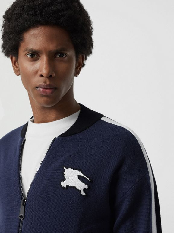 EKD Logo Merino Wool Varsity Jacket in Steel Blue - Men | Burberry Hong Kong - cell image 1