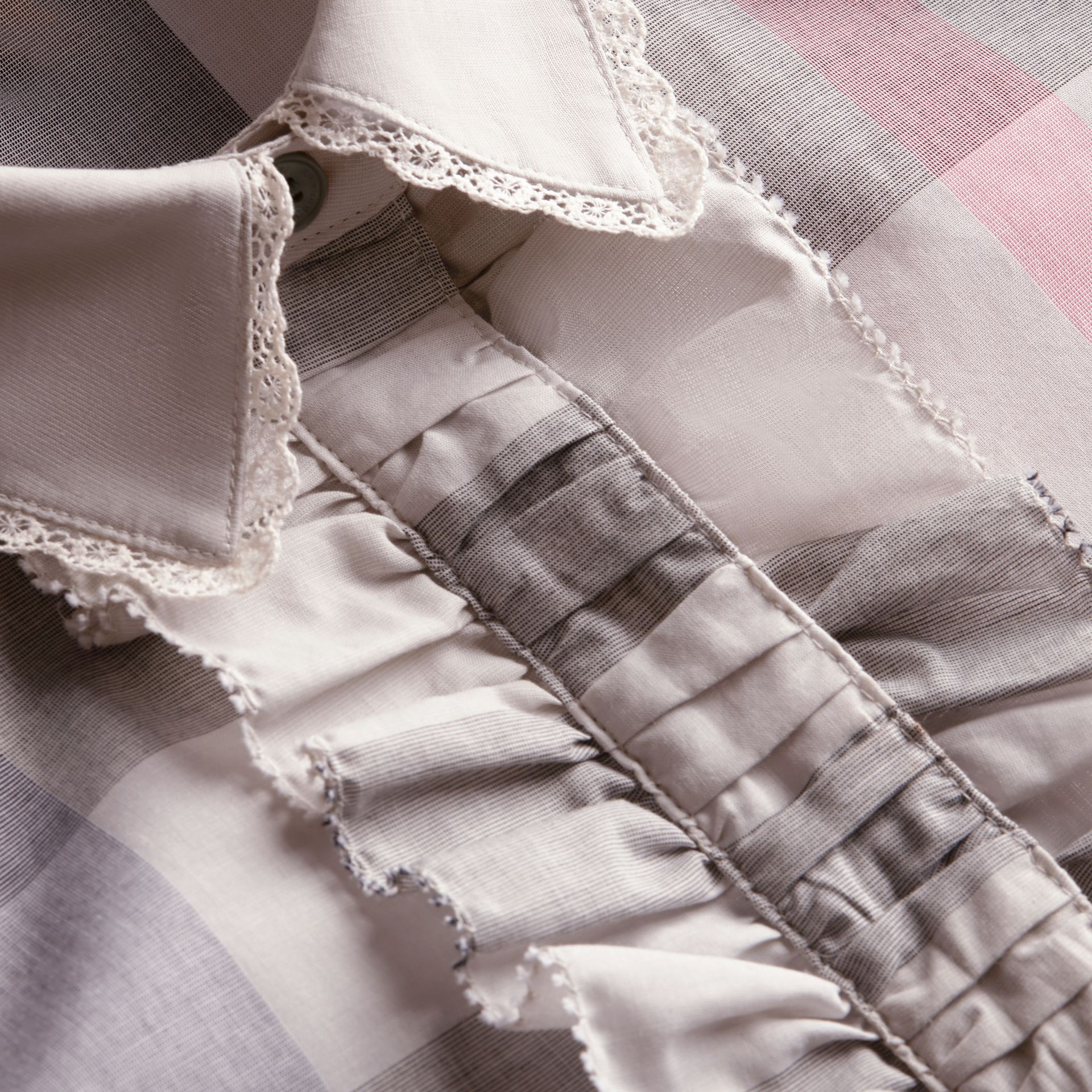 Ruffle Detail and Lace Trim Check Cotton Shirt in Pale Taupe - Women | Burberry - gallery image 2