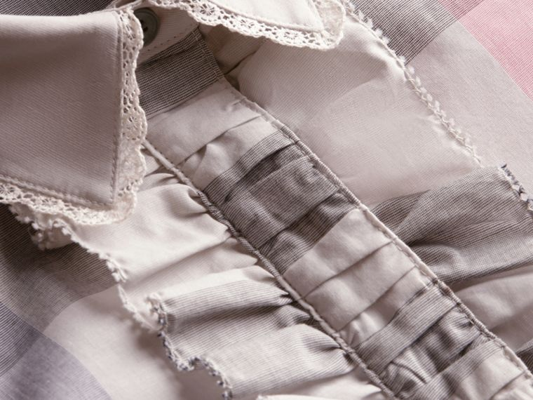 Ruffle Detail and Lace Trim Check Cotton Shirt Pale Taupe - cell image 1