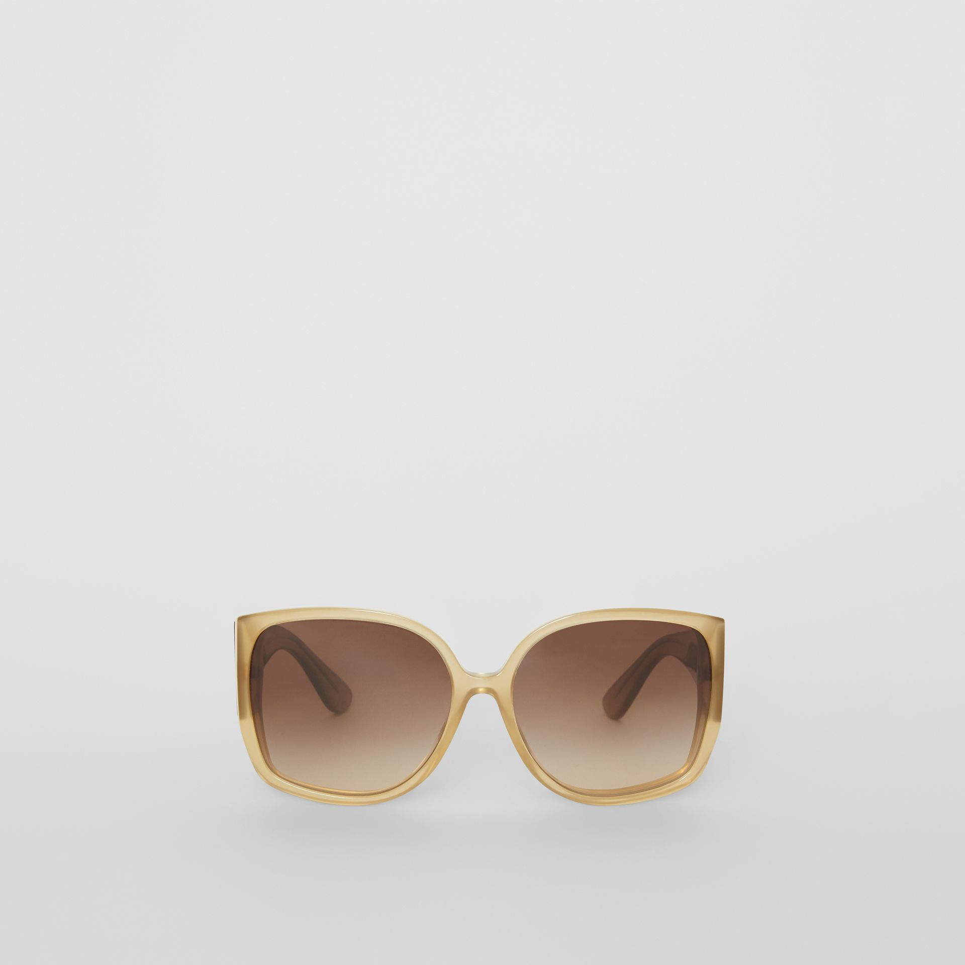 Oversized Butterfly Frame Sunglasses in Beige - Women | Burberry Australia - gallery image 0