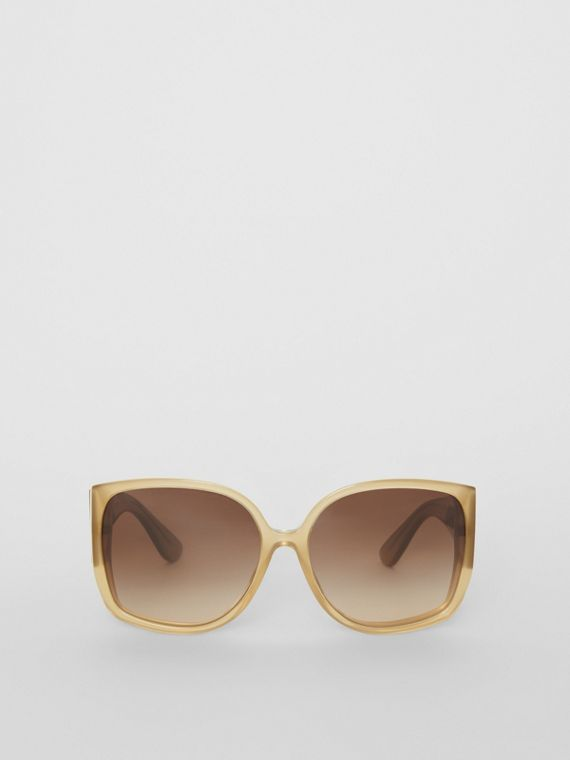 Oversized Butterfly Frame Sunglasses in Beige