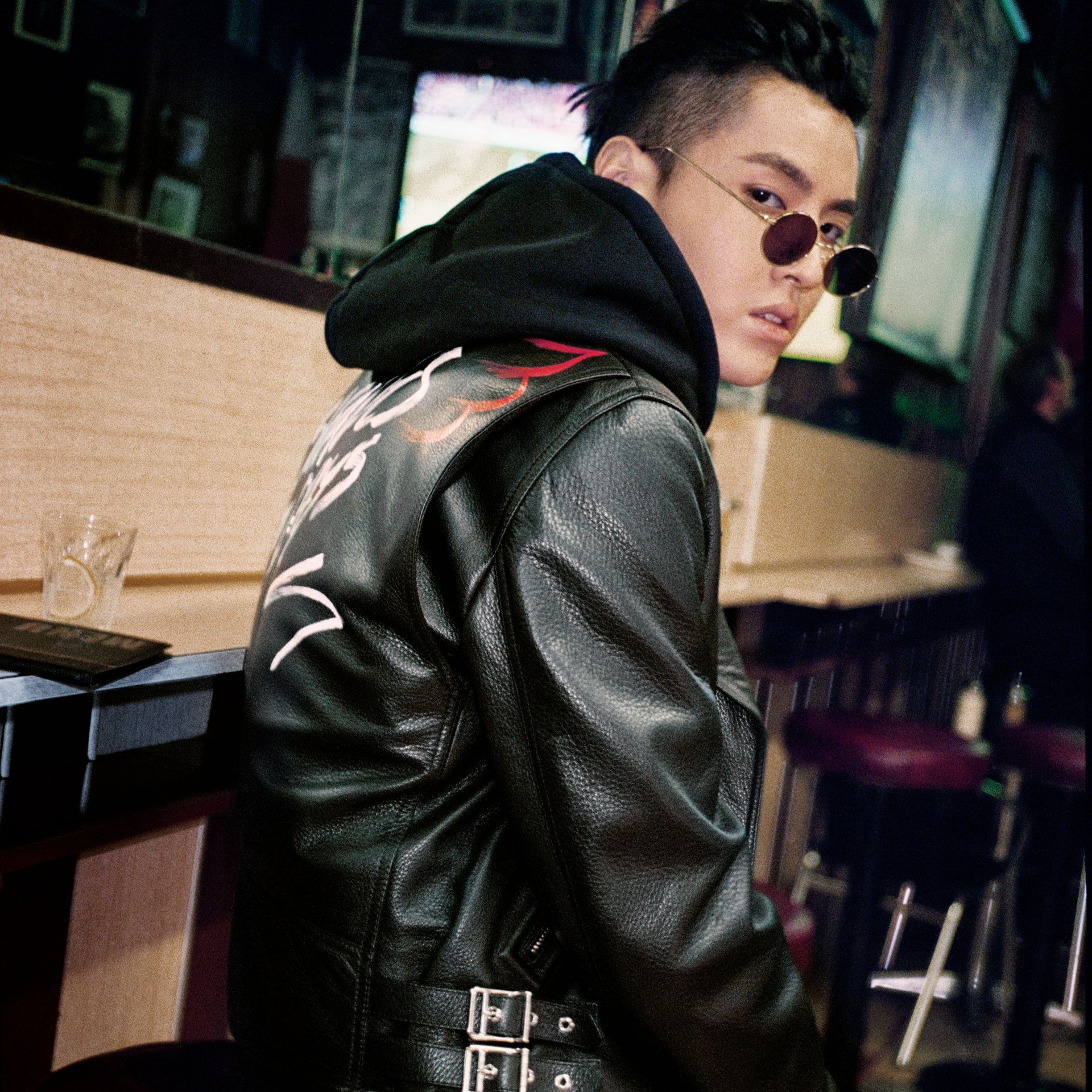Burberry x Kris Wu Leather Biker Jacket in Black - Men | Burberry - gallery image 4