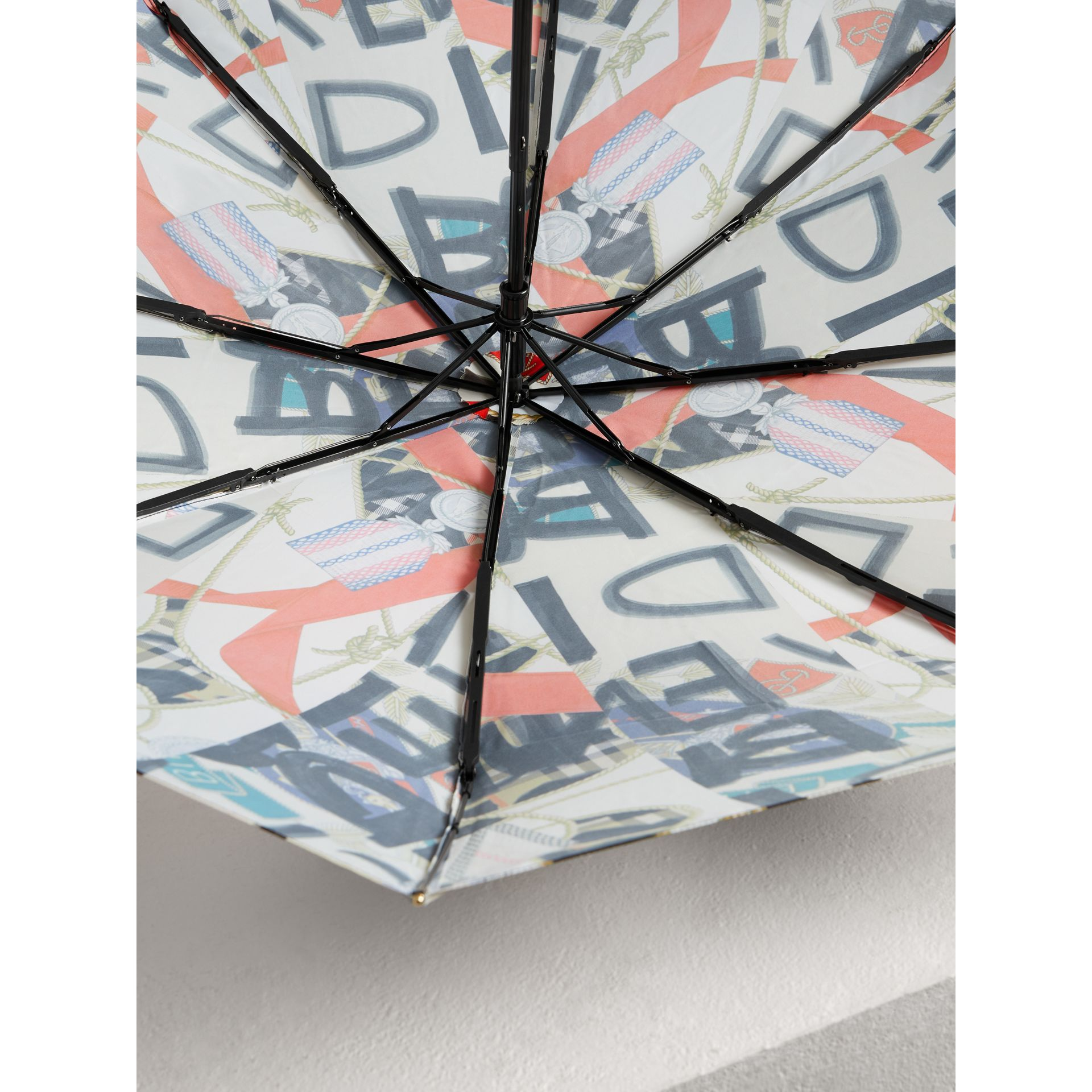 Graffiti Archive Scarf Print Folding Umbrella in Multicolour | Burberry Australia - gallery image 3