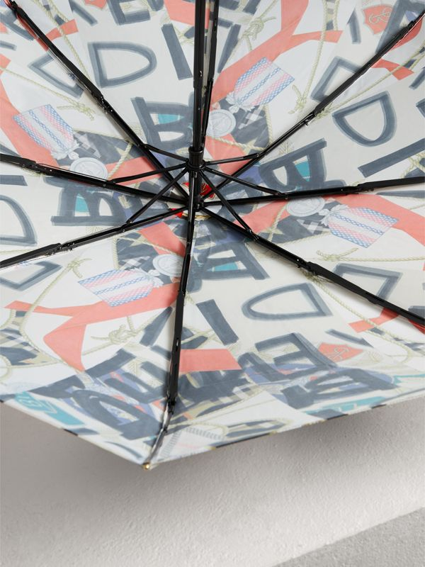 Graffiti Archive Scarf Print Folding Umbrella in Multicolour | Burberry - cell image 3