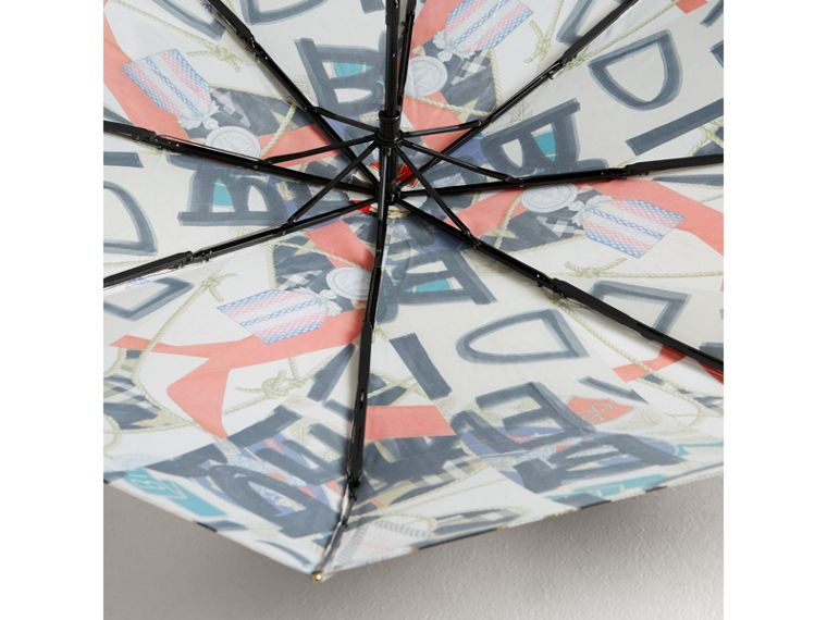 Graffiti Archive Scarf Print Folding Umbrella in Multicolour | Burberry - cell image 2